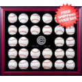 Display Cases, Baseball: Chicago Cubs 30-Ball Mahogany Wood Baseball Display Case