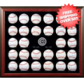 Display Cases, Baseball: Chicago Cubs 30-Ball Brown Wood Baseball Display Case