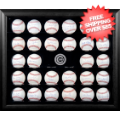 Display Cases, Baseball: Chicago Cubs 30-Ball Black Wood Baseball Display Case