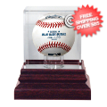 Display Cases, Baseball: Chicago Cubs Single Ball Antique Mahogany Display Case