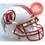 Utah Utes Full XP Replica Football Helmet Schutt <B>White with Stripe<B>