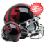 Louisiana (Lafayette) Ragin Cajuns Full XP Replica Football Helmet Schutt <B>Black with Chrome Mask</B>