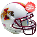 Helmets, Mini Helmets: Iowa State Cyclones Mini XP Authentic Helmet Schutt <B>White with Chrome Ma...